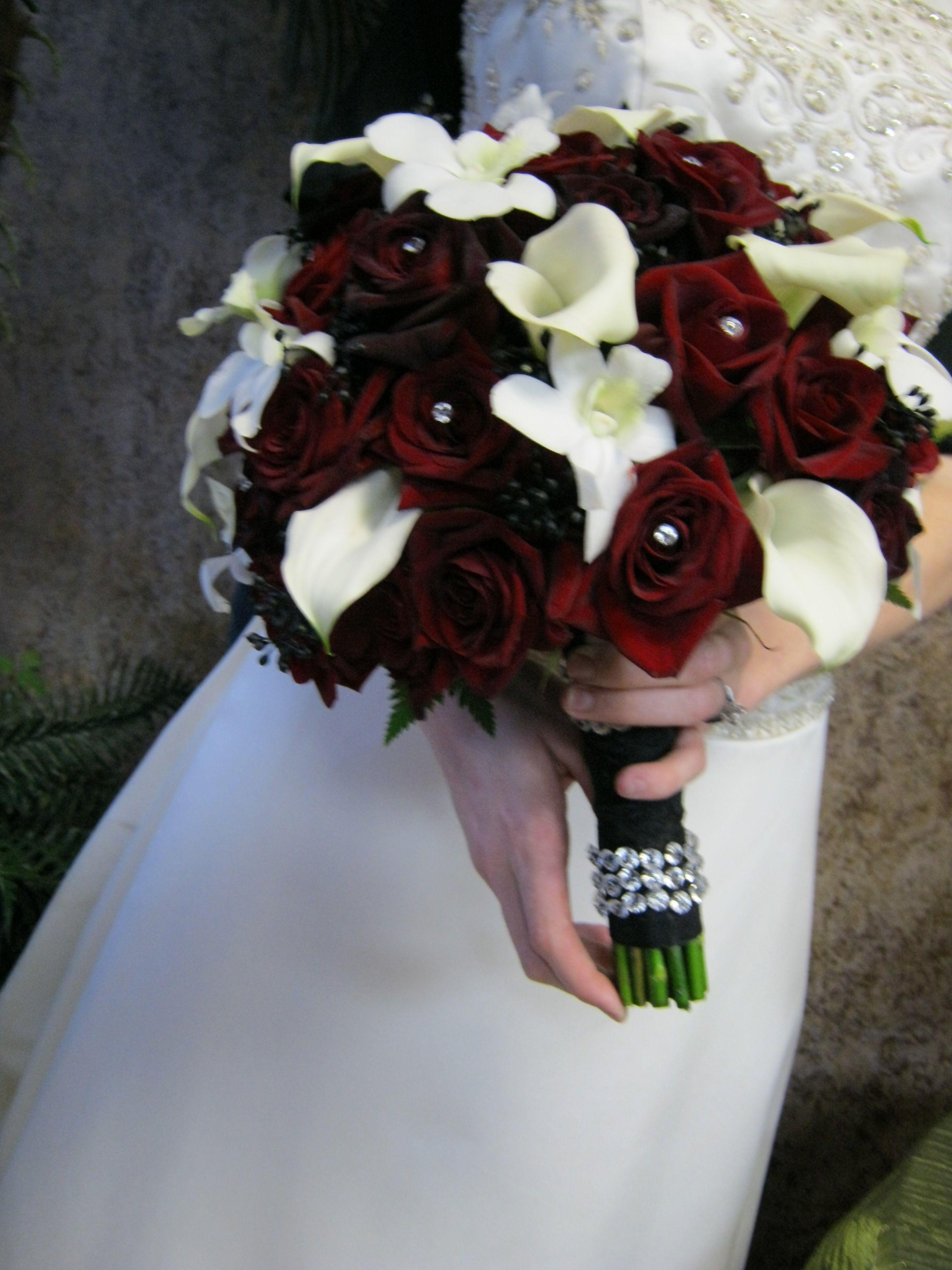 Hand Tied Bridal Bouquet With Mini Calla And Black Magic