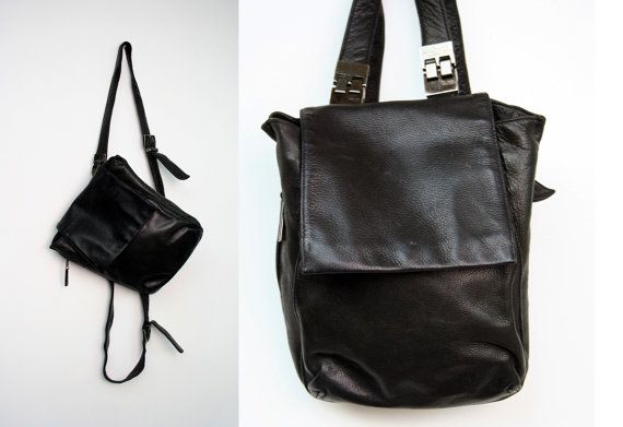 Vintage Black Leather Backpack Purse Perlina New by FancyBantam ... 2fda613e1e45e