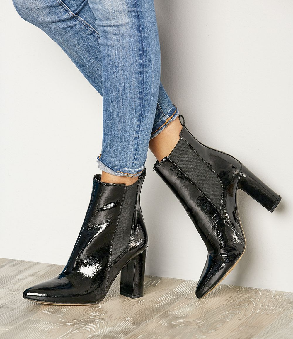 6c13f2badf66 Black patent leather ankle booties with pointed toes | Vince Camuto Britsy