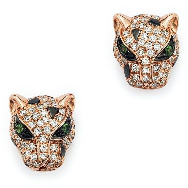 Diamond and Tsavorite Panther Studs in 14K Rose Gold 16965 HRK