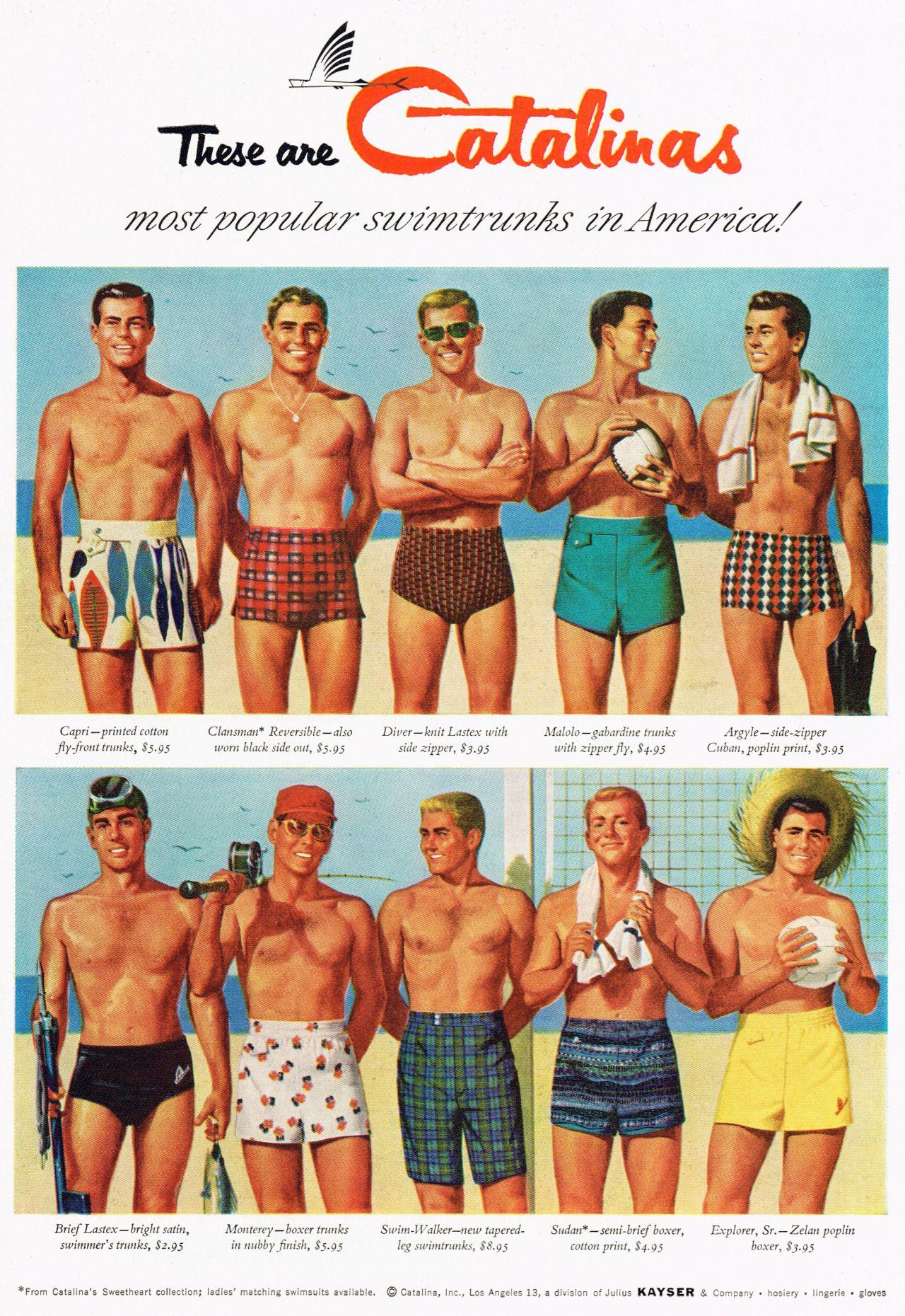 1f760606bc229 Catalina swimsuits 50s ad 1950s Fashion Menswear, Retro Fashion, Vintage  Fashion, Mens Fashion