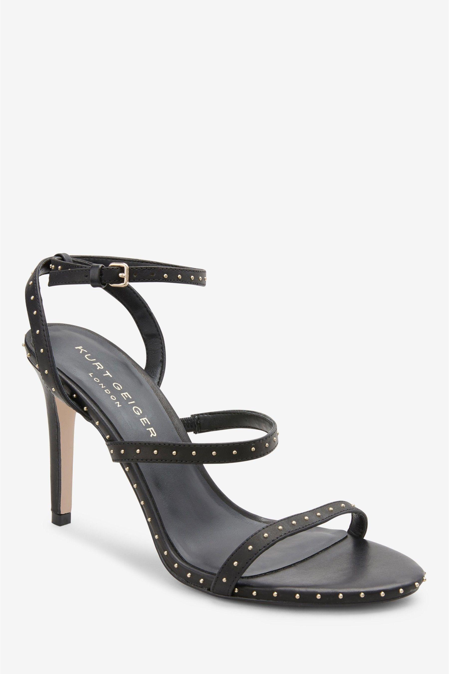 Womens Kurt Geiger Black Portia Stud Heeled Sandal Black Studded Heels Black Sandals Heels Sandals Heels