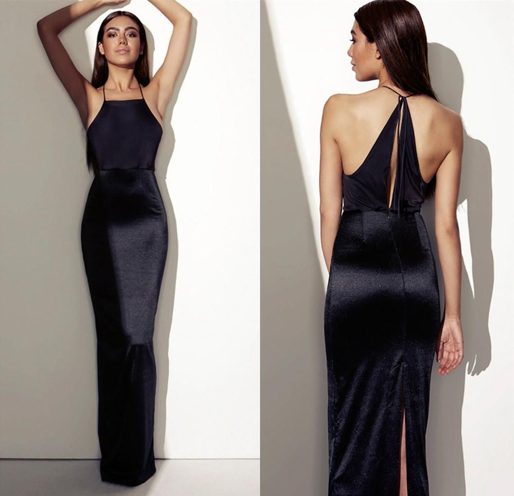 Sexy Evening Gowns India Arabic 2015 Halter Spaghetti Black ...