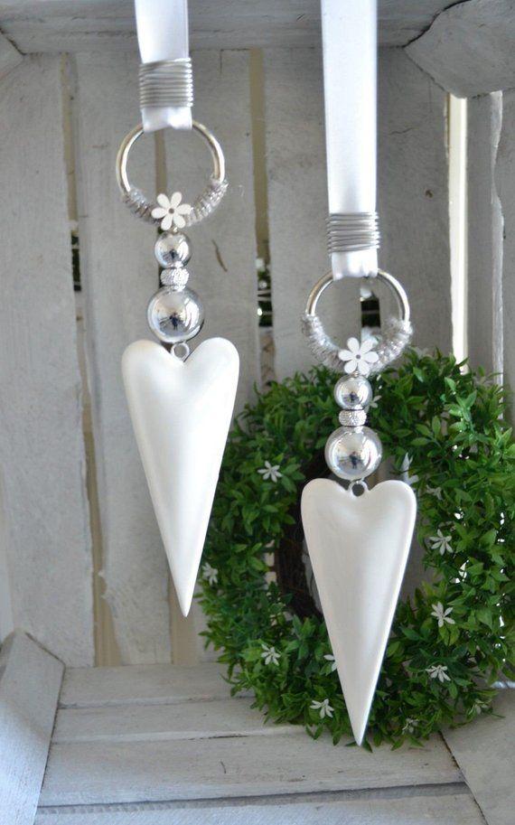 Decoración de ventana corazón blanco brillante forma alargada 15 cm perla, rhinestbeat