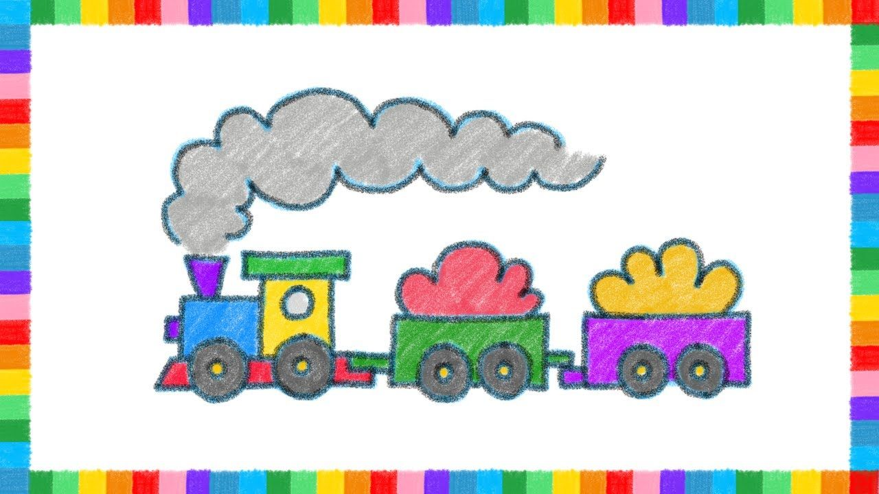 How To Draw A Freight Train With Color Crayons For Kids Coloring Page