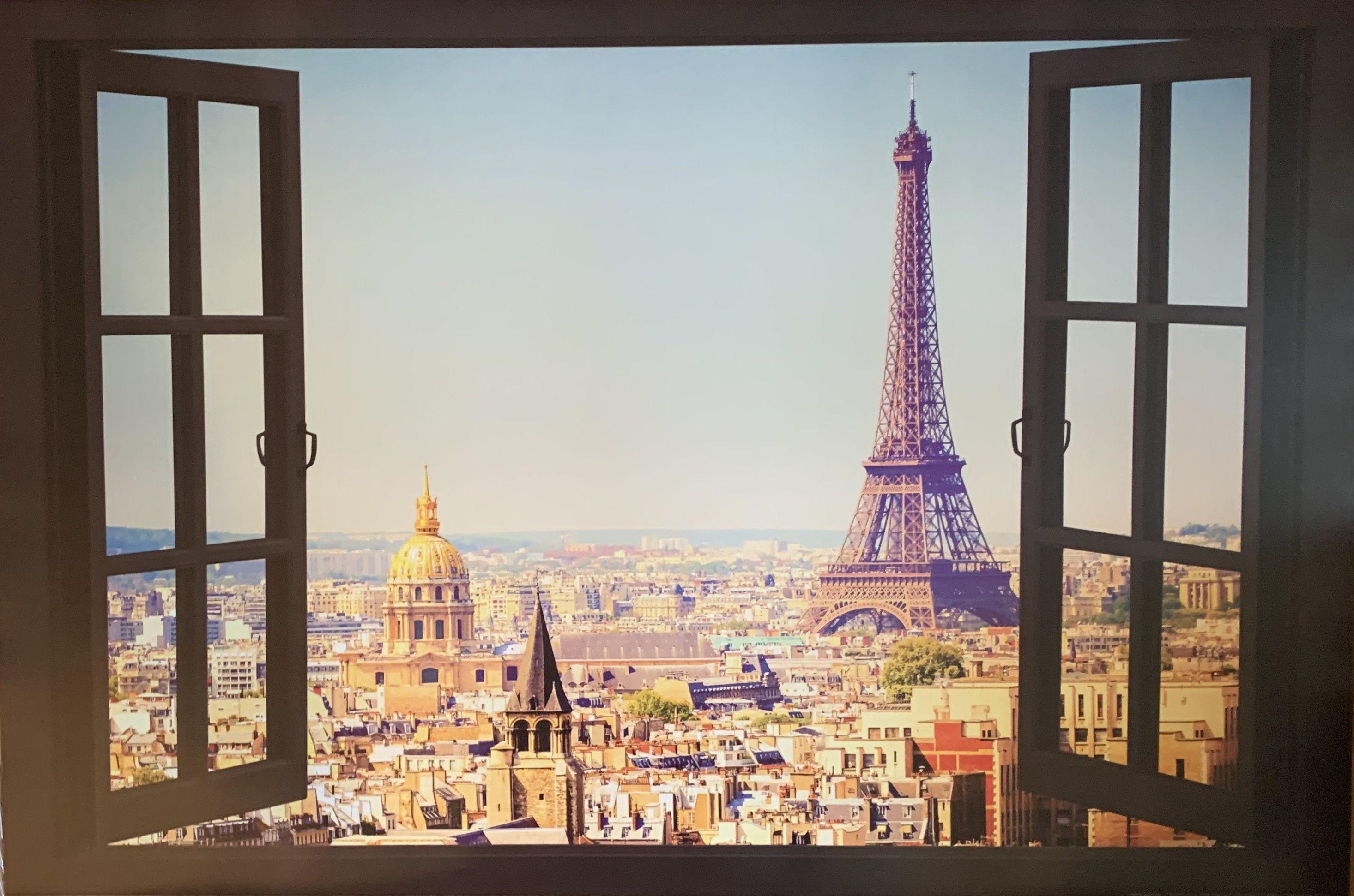 eiffel tower window view poster 24 x 36