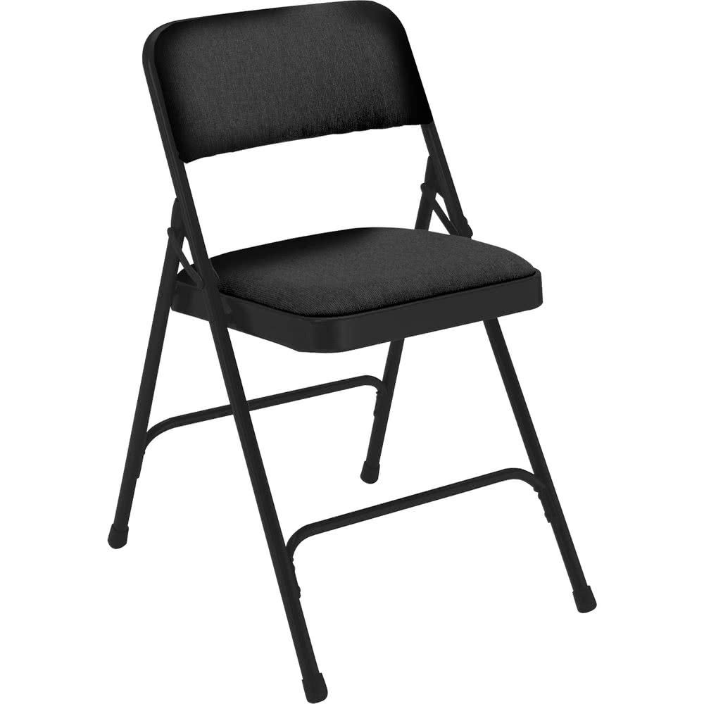National Public Seating 2210 Black Metal Folding Chair With 1 1 4