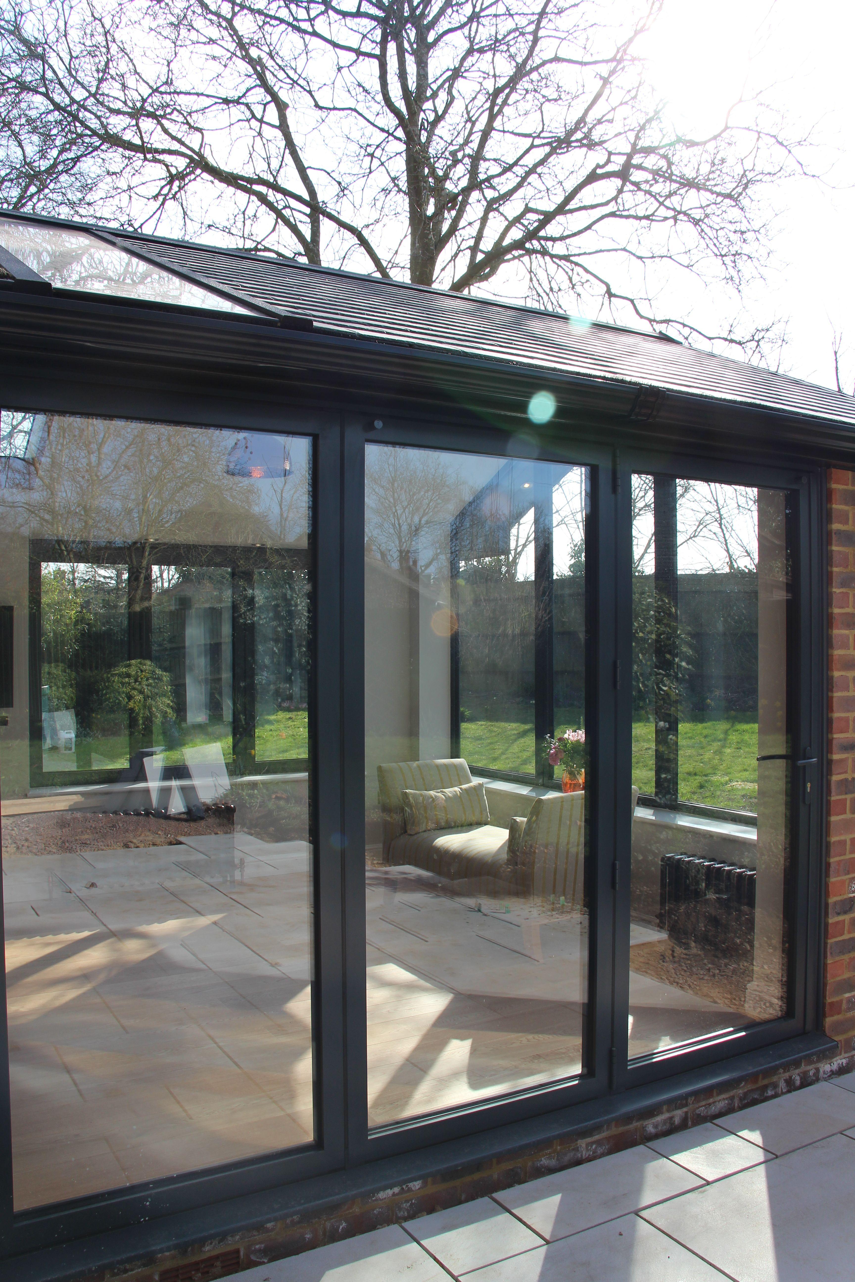 Anthracite Grey Bi Folding Doors In Aluminium House Extension Design Garden Room Extensions Window Styles