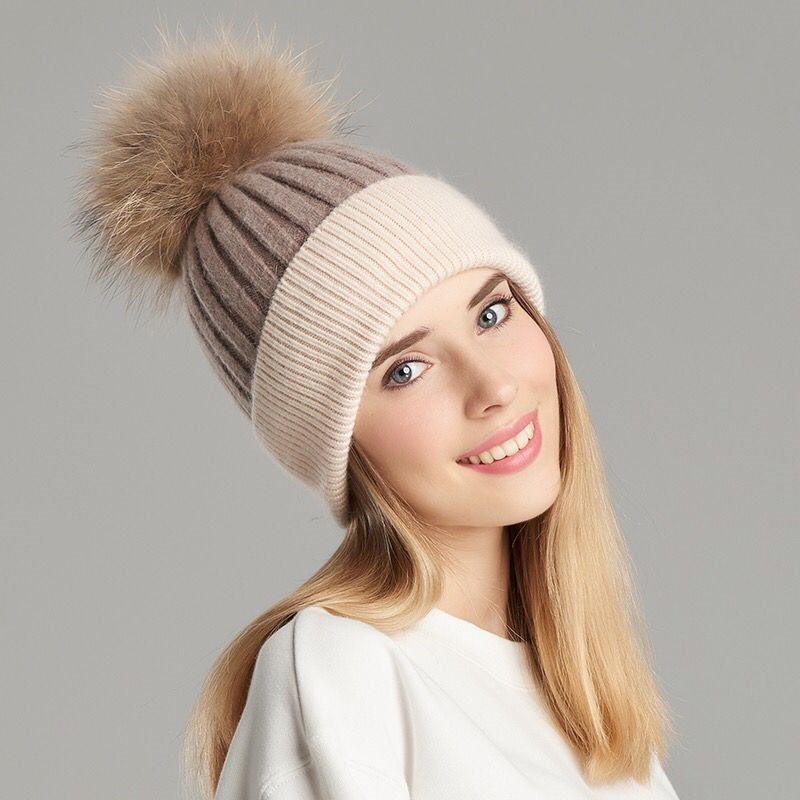 e2317d80273 Women Real Fur Pom Pom Hat Female Wool Knitted Beanies Fur Ball Hat Winter  Spring Cashmere Natural Raccoon Fur Pompom Hat