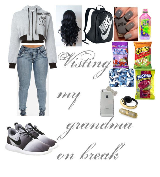 """""""Visiting my grandma"""" by poohbabygirl14 ❤ liked on Polyvore featuring Beats by Dr. Dre, Moschino, NIKE and FRUIT"""
