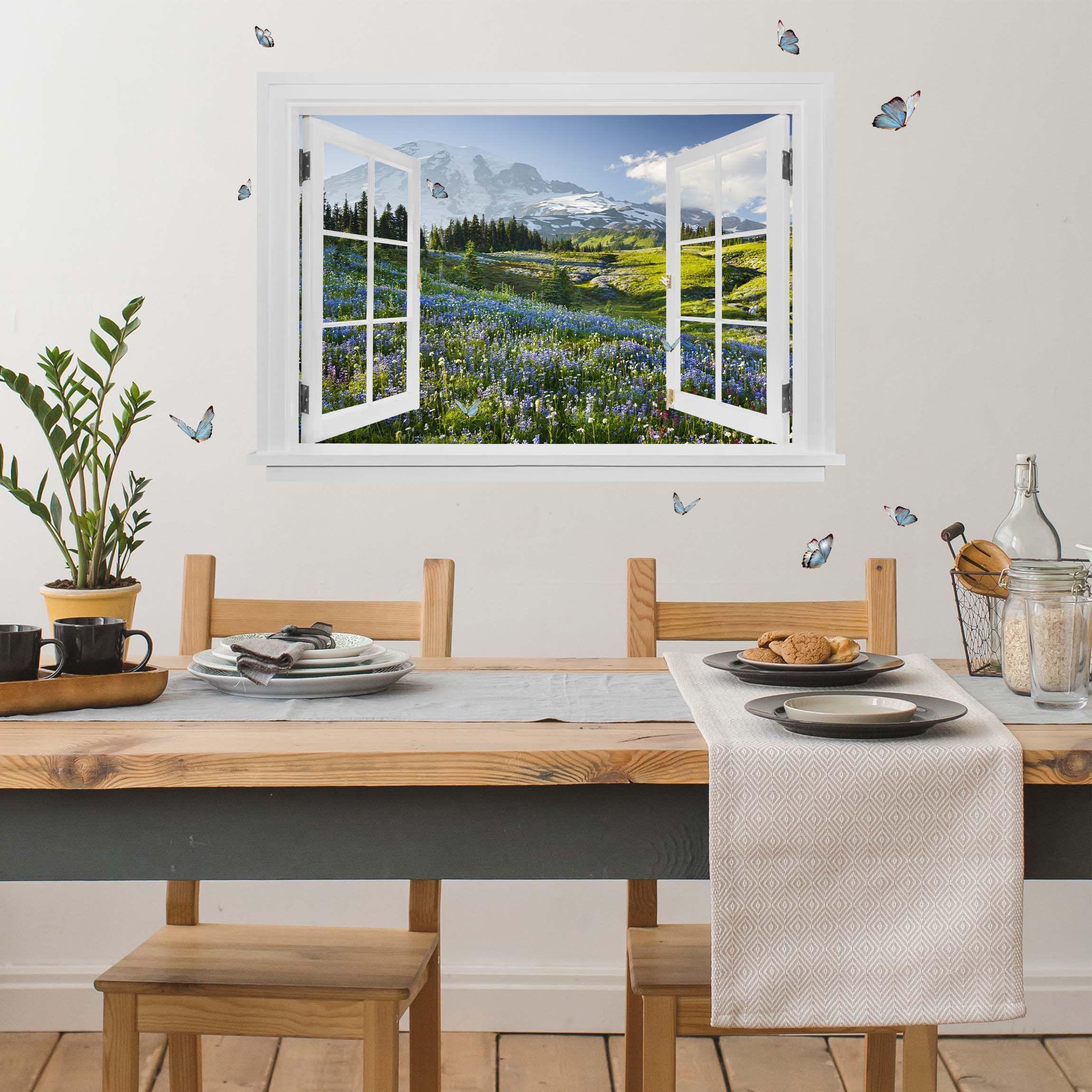 Adesivi Murali 3d Grandi.Trompe L Oeil Adesivi Murali Finestra Aperta Su Campo Di