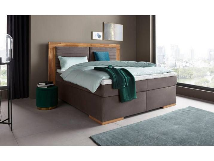 Places of Style Boxspringbett »Cup«, 160×200 cm, H2, grau, mit Topper