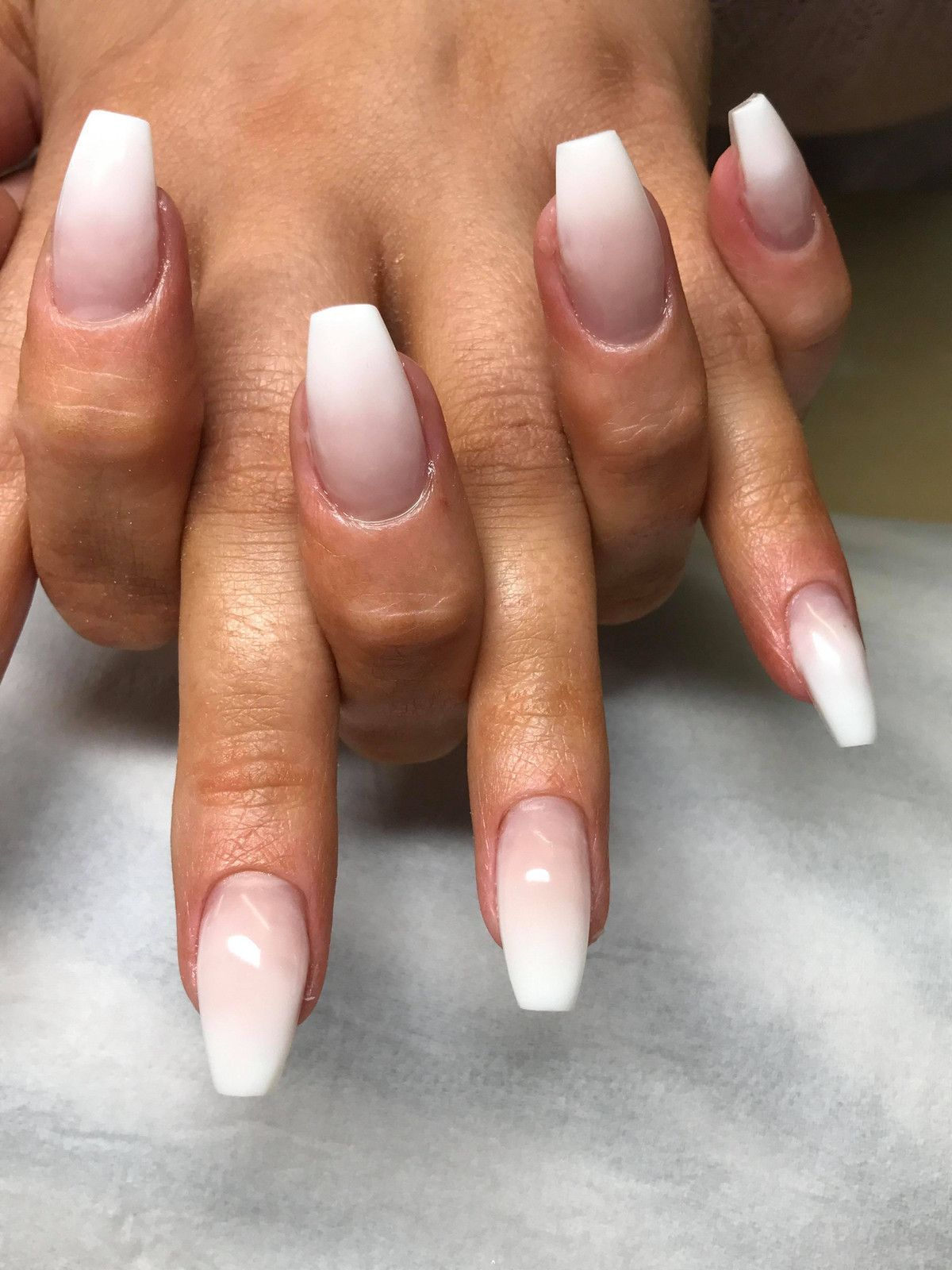French Ombre Nails With Gold Glitter Baby Boomer Coffin Nails Ombre Nails Acrylic Nails Coffinnails Coffin Shape Nails Ombre Acrylic Nails Chic Nails