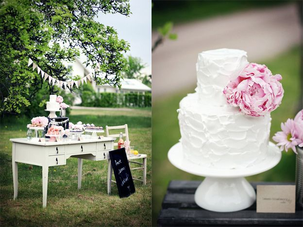 this is what I'm talking about. small wedding cake... lots of other delicious desserts.