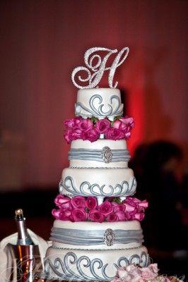 Hot Pink and Silver Wedding Cake, Ballantyne Hotel Wedding   Essence ...