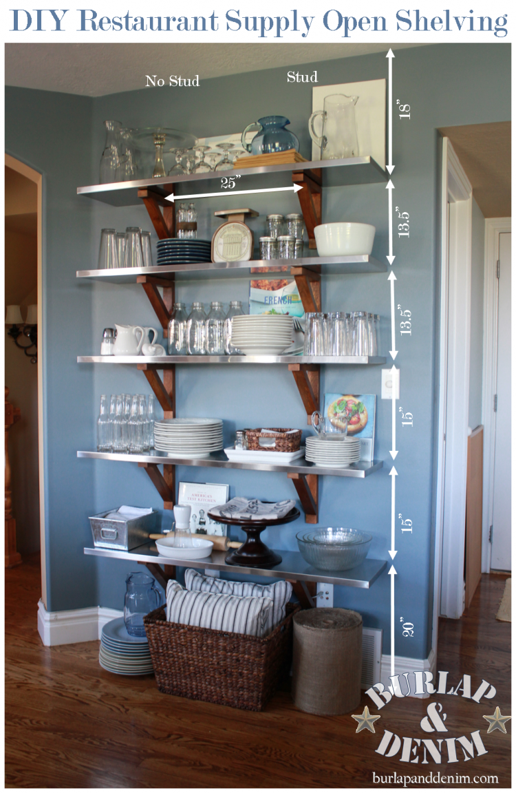 DIY Industrial Restaurant Supply Open Shelving at Home | Burlap ...