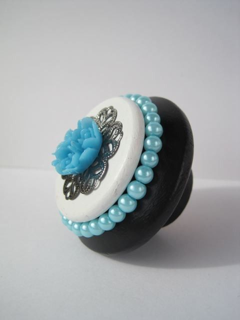 Drawer knobs in turquoise black and white with pearls by DaRosa ...