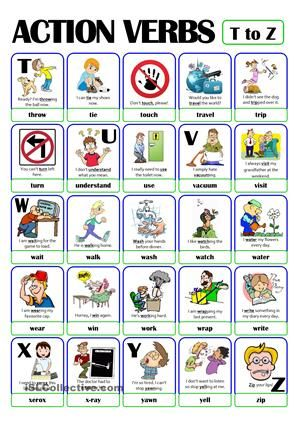 PICTIONARY - ACTION VERB SET (5) - from T to Z English letters