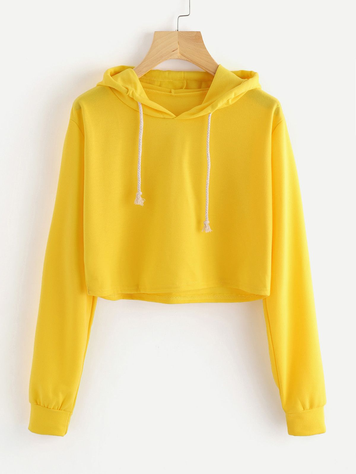3e4c0166 Drawstring Hooded Crop Sweatshirt in 2019   Fashion   Cropped hoodie ...