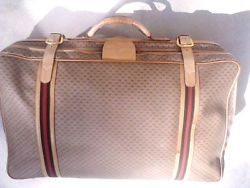 """VINTAGE GUCCI Suitcase Luggage Monogram GG  Canvas & Leather 30"""""""