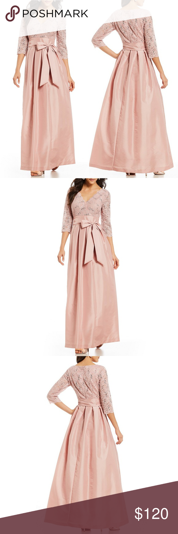 f42b283e42d6 JESSICA HOWARD BOW TIE FRONT GOWN From Jessica Howard, this gown features:  . surplice v-neckline . 3/4 sleeves . lace bodice . self-tie sash . back  zipper ...