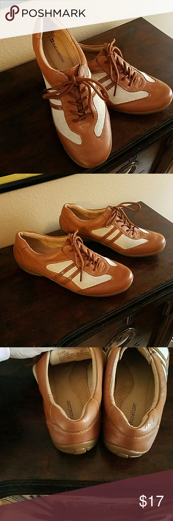 Naturalizer Flora size 8 lace up Brown leather...cream colored canvas..size 8.  Great condition... Naturalizer Shoes