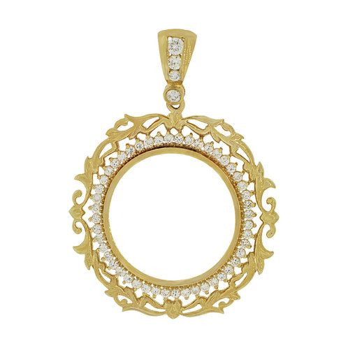 14k yellow gold fancy filigree border coin bezel frame pendant 14k yellow gold fancy filigree border coin bezel frame pendant charm fits round 27mm diameter aloadofball Gallery