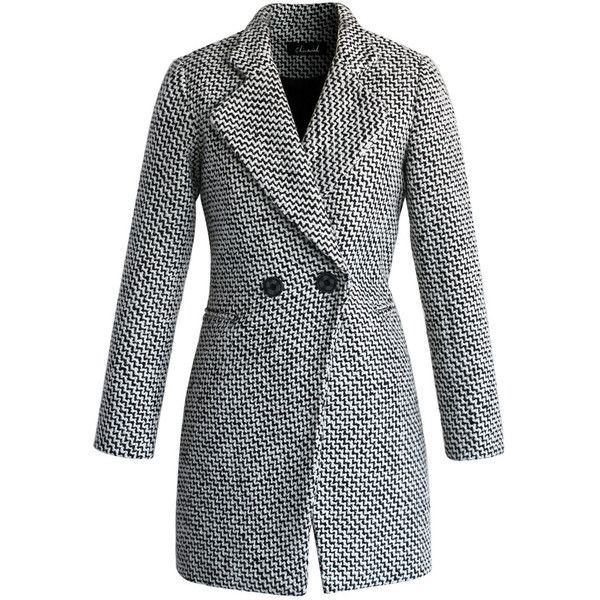 Chicwish Classy Double Breasted Tweed Coat (€73) ❤ liked on Polyvore featuring outerwear, coats, jackets, coats & jackets, casacos, multi, faux-fur coats, double breasted coat, tweed coat and tweed wool coat