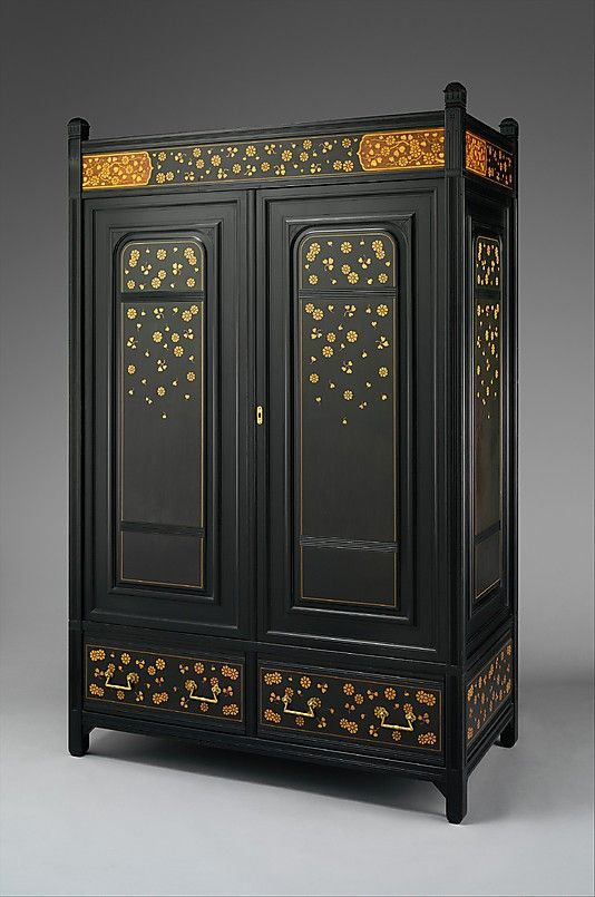 black wardrobe armoire gold decoration bedroom furniture design ideas - Black Wardrobe Armoire Gold Decoration Bedroom Furniture Design