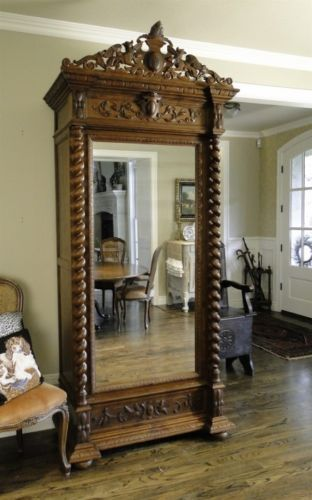 Superb Antique Wardrobe Armoire Wardrobe French Single Door Beveled Mirror Carved
