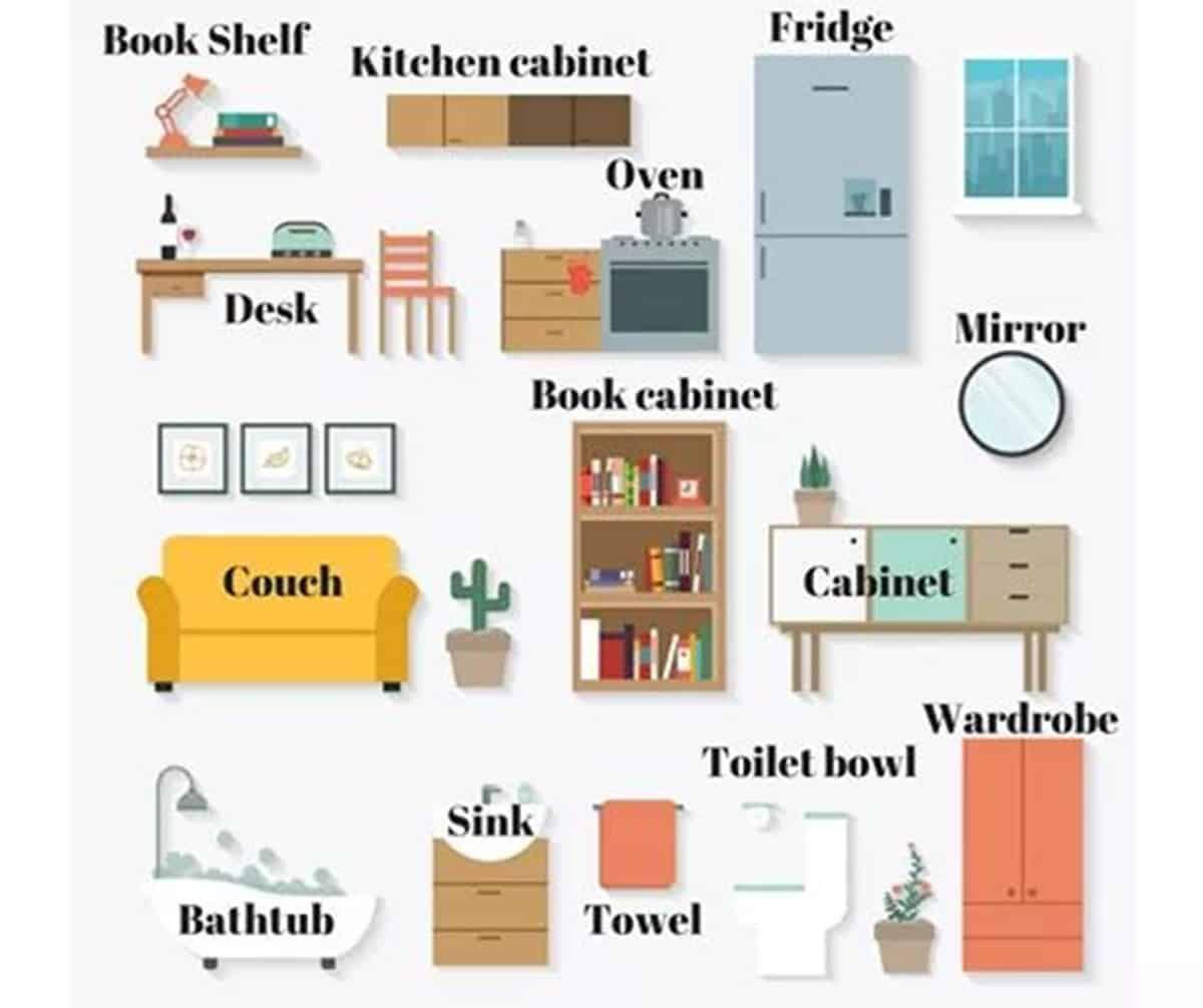 Furniture Vocabulary 250 Items Illustrated Eslbuzz Learning English Vocabulary English Vocabulary Antique White Furniture
