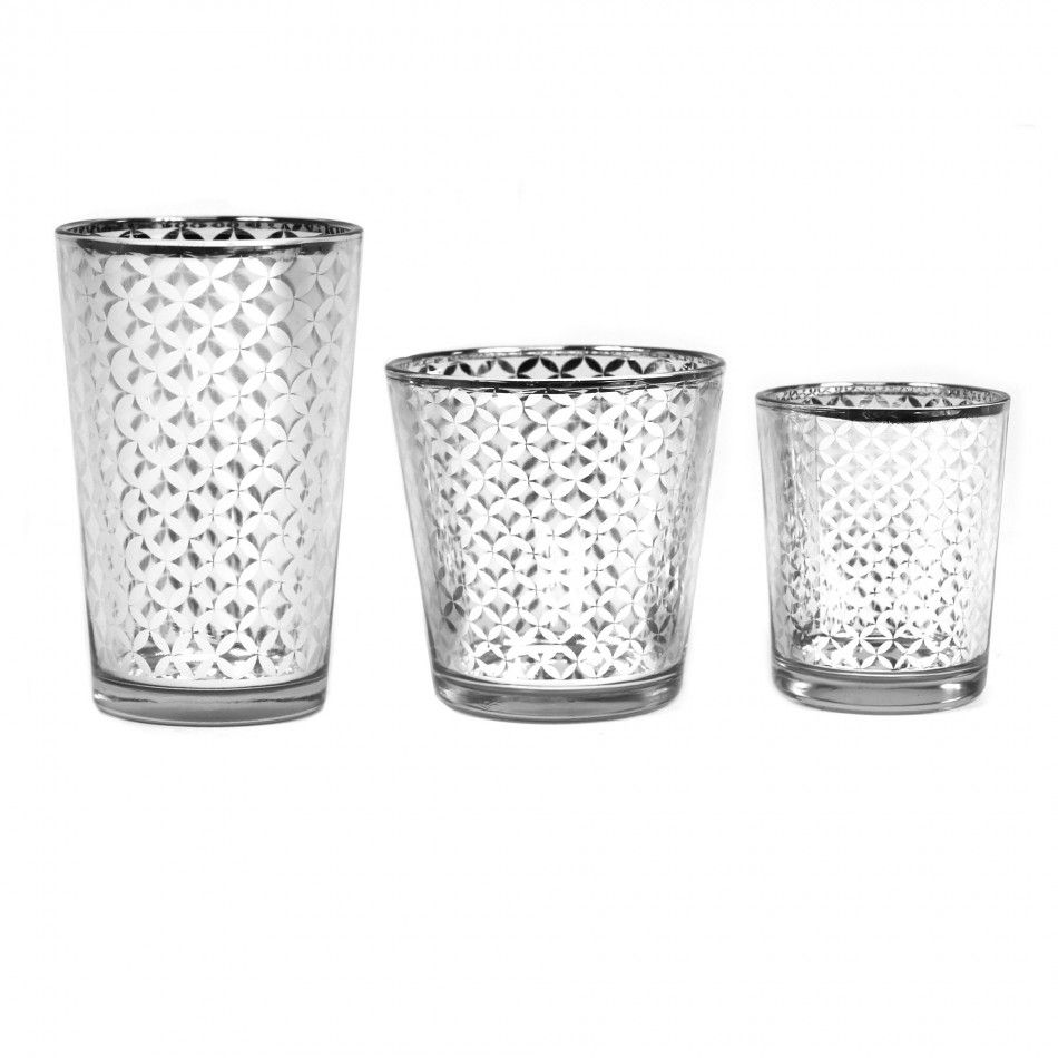 Lattice glass votive candle holders silver wholesale
