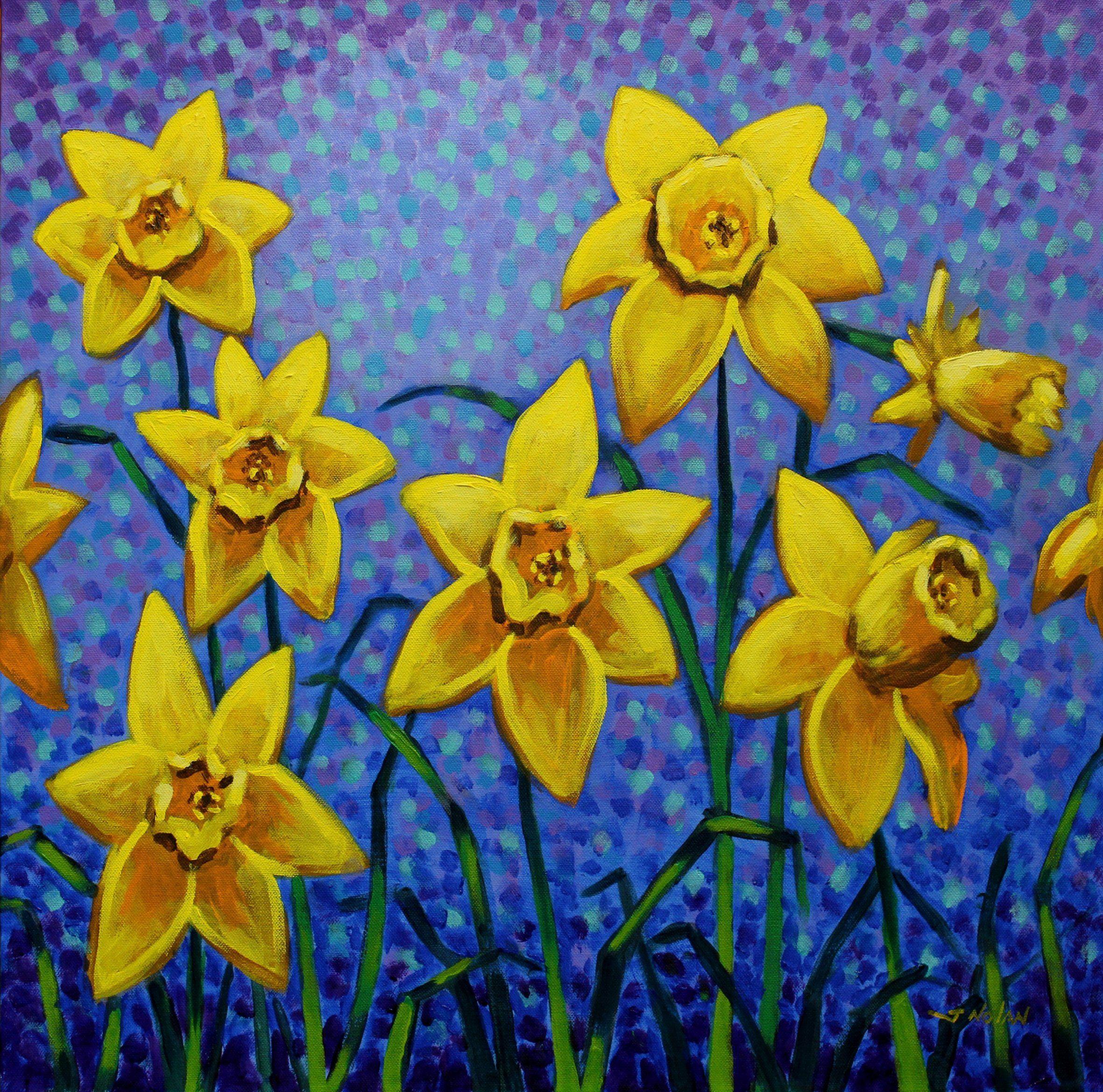 Spring Daffodil John Nolan Flower Drawing Art I Wandered Lonely A Cloud Symbol