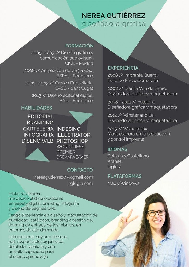 Curriculum Creativo Cv Pinterest 인포그래픽