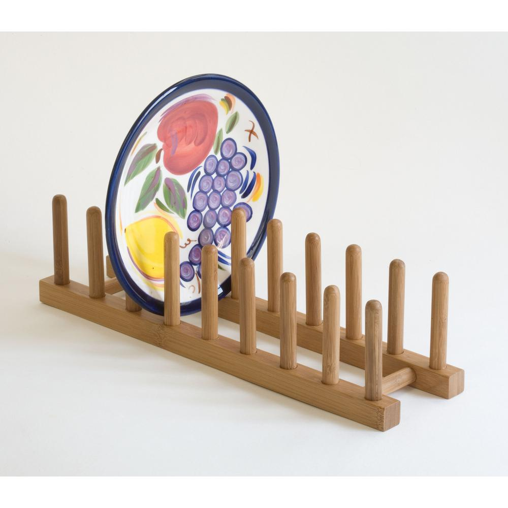 Lipper Bamboo Plate Rack/Pot Lid Holder, Light Brown Wood in