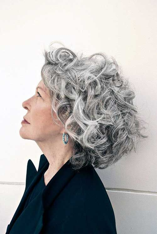 Frisuren Grau Locken Mittellange Haare