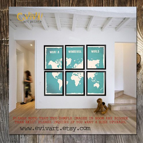 11x14 what a wonderful world map print six 11x14 inches prints in items similar to world map wall decor inspiration quote what a wonderful split world map print six prints sky turquoise on etsy gumiabroncs Gallery
