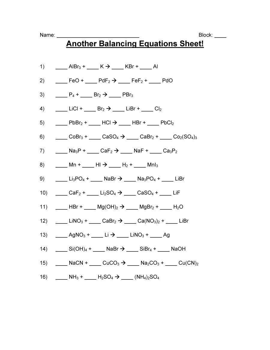 Balancing Equations Practice Worksheet Answers 49 ...