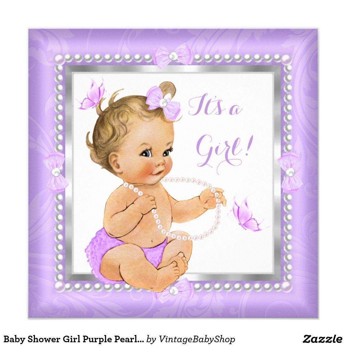 Baby Shower Girl Purple Pearl Butterfly Blonde Card | Butterfly ...