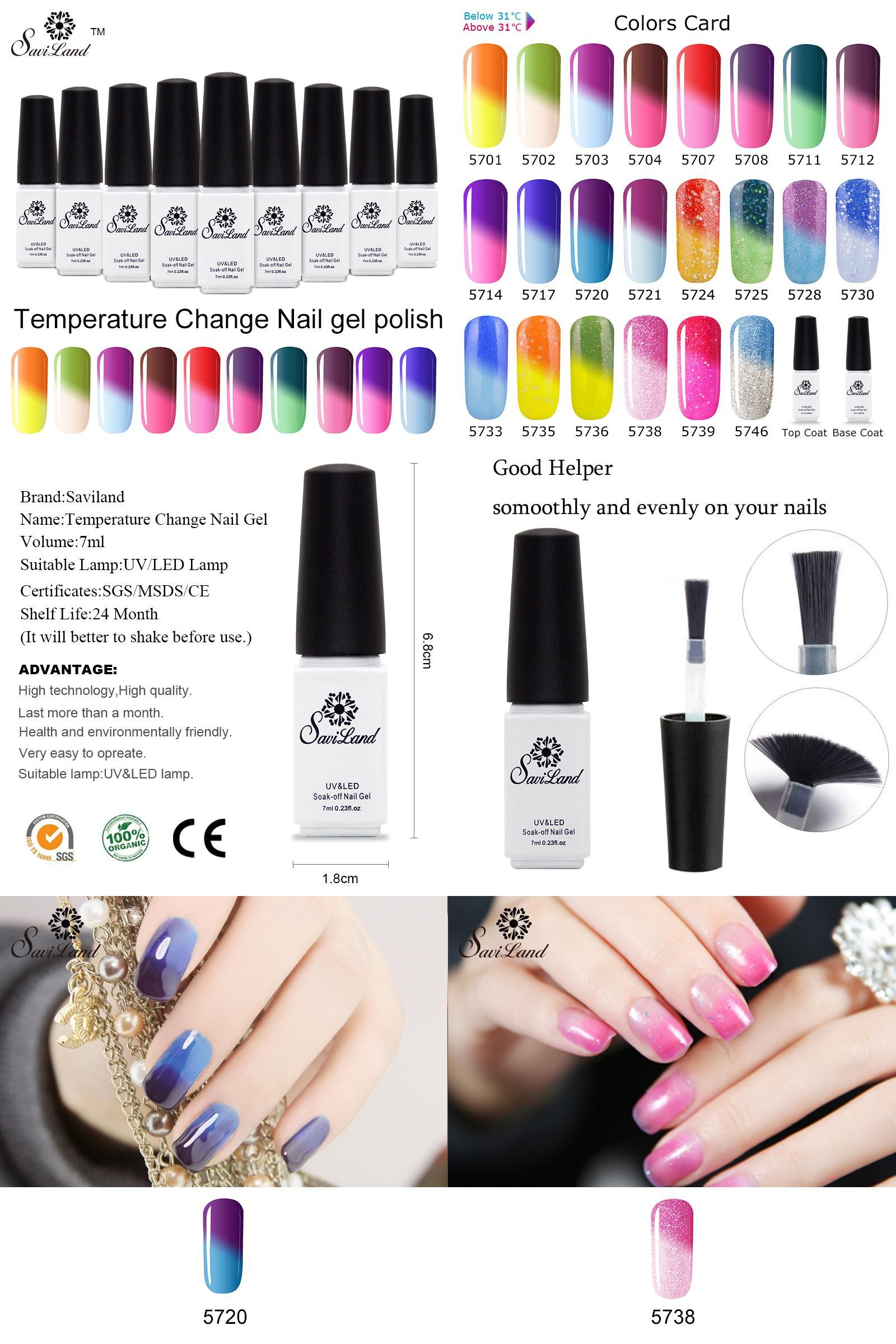 Visit to Buy] Saviland 1pcs Thermal Color Changing Nail Polish Long ...