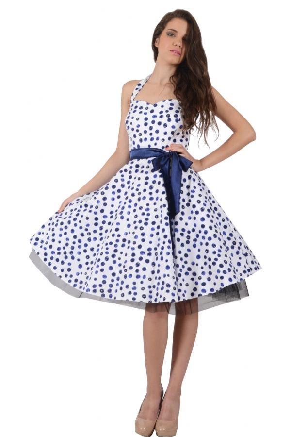f56bca0df749 Φόρεμα swing με δέσιμο στον λαιμό και στη μέση και φουρό στο πλάι ...