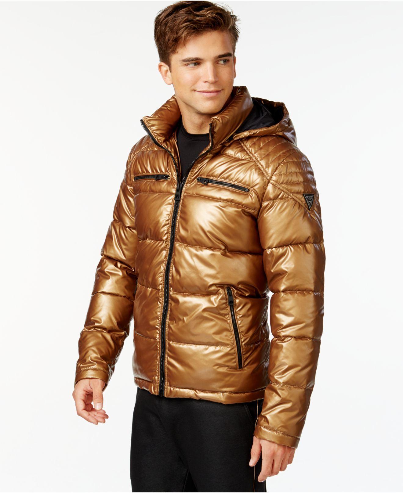 Guess Copper Pantone Hooded Puffer Jacket Gold Product 0 276841713 Normal Jpeg 1320 1616 Lack Kleidung Daunenjacke Jacken [ 1616 x 1320 Pixel ]
