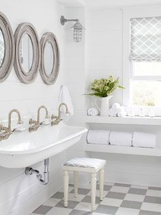 White Farmhouse Cottage Style Bathroom | Get the look: Kohler Brockway sinks @bhg