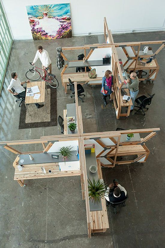 Modular Office Hive Made From Salvaged Wood Of Derelict Buildings Corporate Office Design Open Space Office Office Space Design