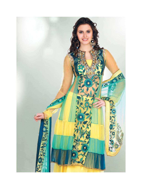 blue and yellow net full sleeve long salwar kameez