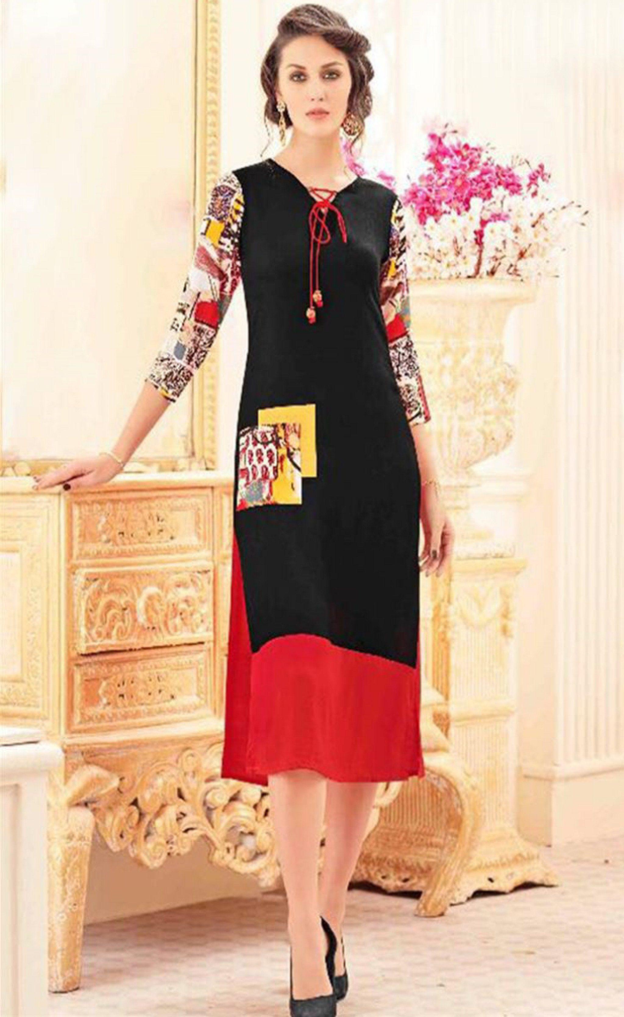 f334304a70 Fancy reyon fabric kurti in 2019   raj   Kurti, Indian designer wear ...