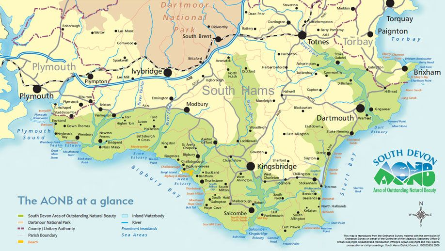 Map of the South Devon AONB   TRAVEL • Boards   South west ...
