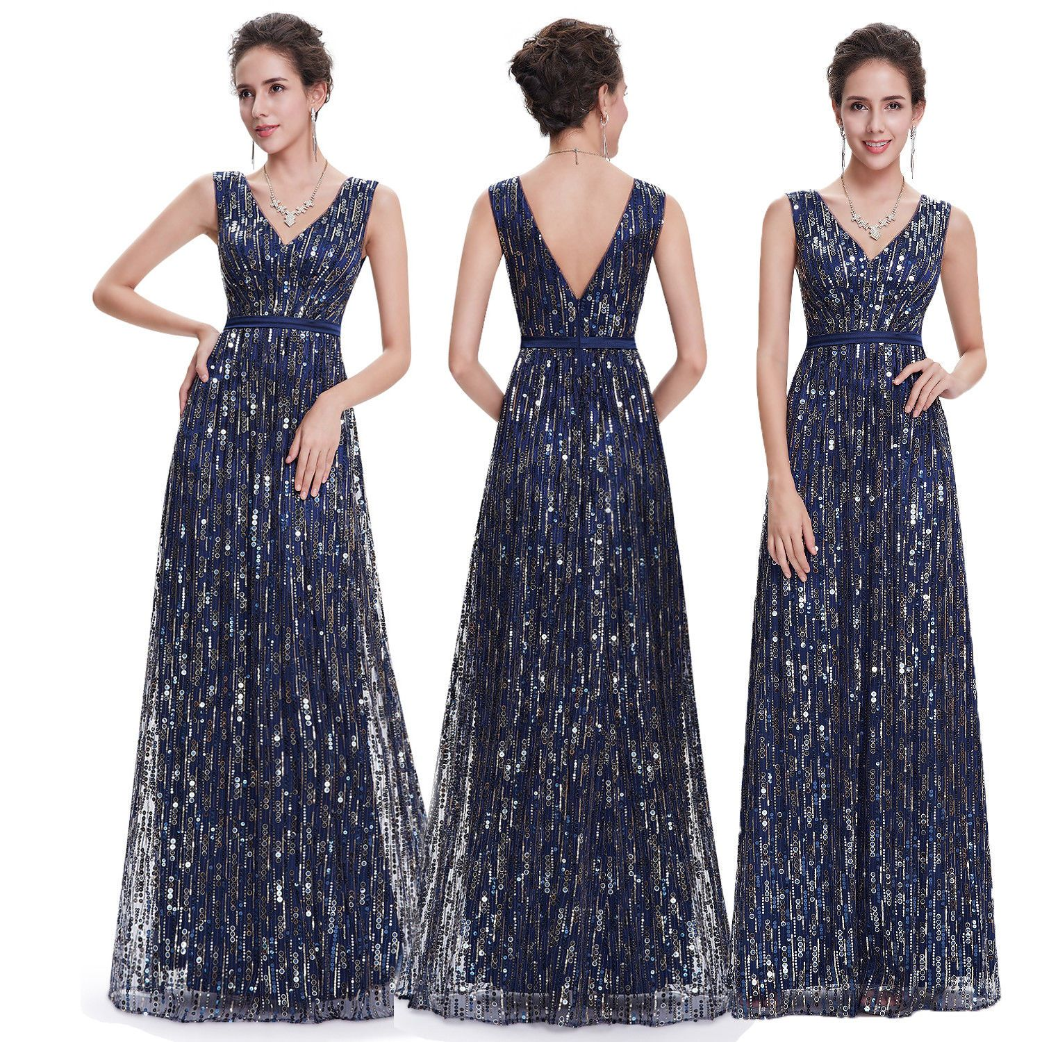 Awesome amazing sequin formal prom evening dress long prom gown