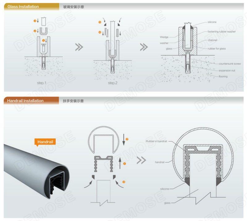 aluminium channel frameless glass balcony railing buy. Black Bedroom Furniture Sets. Home Design Ideas