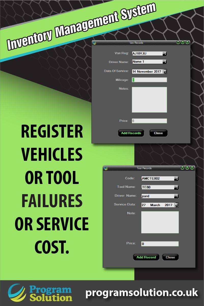 INVENTORY MANAGEMENT SYSTEM. Register vehicles or tool